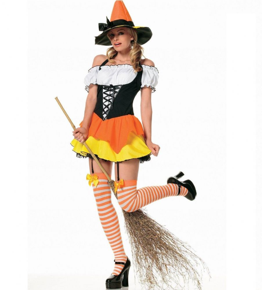 Candy Corn Witch - Halloween Fancy Dress Costume (Wicked HF-5005)